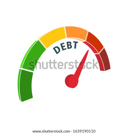 Color scale with arrow from green to red. Debt measuring device icon. Sign tachometer, speedometer, indicators. Colorful infographic gauge element. Business concept on debt