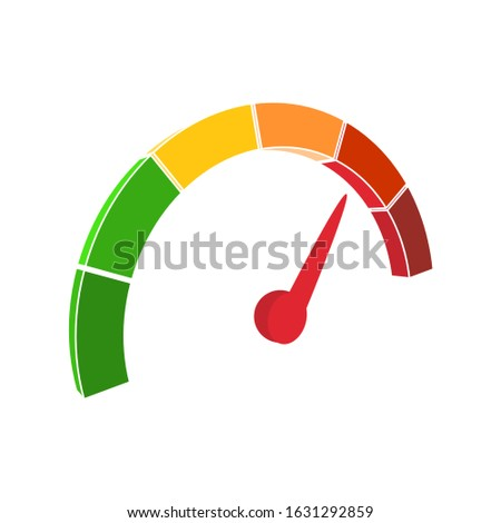Color scale with arrow from green to red. The measuring device icon. Sign tachometer, speedometer, indicators. Vector illustration in isometric style. Colorful infographic gauge element