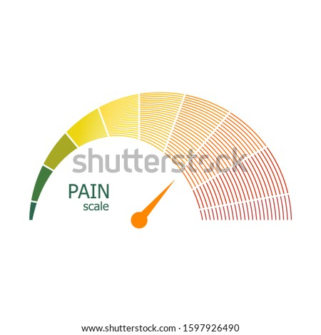 Color scale with arrow from green to red. The pain level measuring device icon. Sign tachometer, speedometer, indicators. Colorful infographic gauge element.