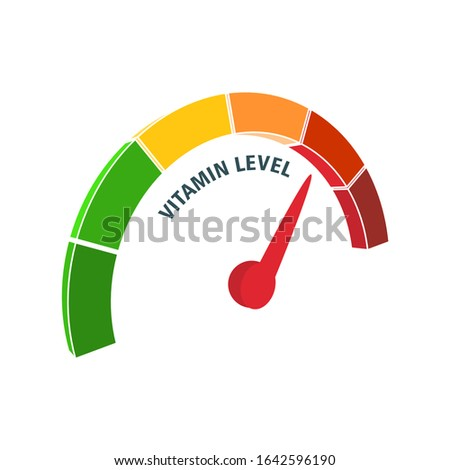 Color scale with arrow from green to red. Vitamin level measuring device icon. Sign tachometer, speedometer, indicators. Colorful infographic gauge element