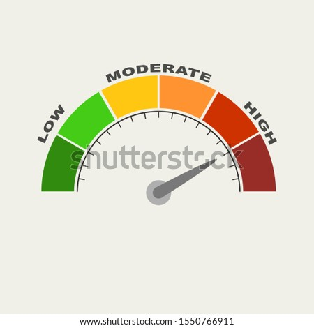 Color scale with arrow from red to green and the scale. The measuring device icon. Sign tachometer, speedometer, indicators. Vector illustration in flat style. Colorful infographic gauge element