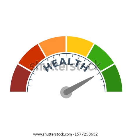 Color scale with arrow from red to green. The health level measuring device icon. Sign tachometer, speedometer, indicators. Colorful infographic gauge element.