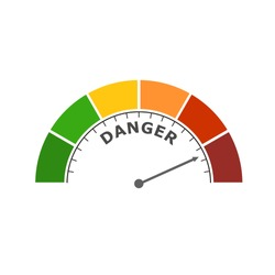 Color scale with arrow from red to green. The measuring device icon. Danger level indicator. Colorful infographic gauge element
