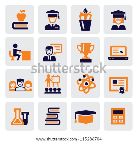 color school and education icons set on gray