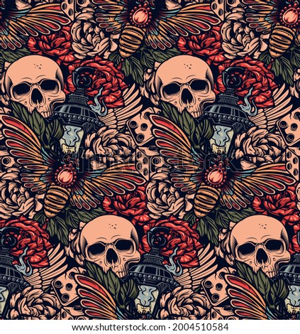 Color seamless background on tattoo theme. Ideal for printing for fabric, wall decoration, and many other uses