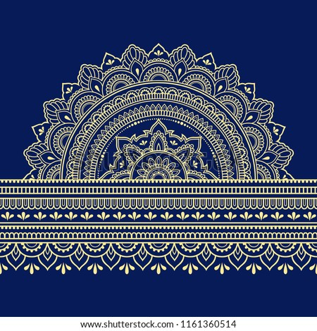 Color seamless borders with mandala for design, application of henna, Mehndi and tattoo. Decorative pattern in ethnic oriental style.