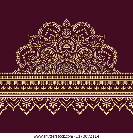 Color seamless borders with mandala for design, application of henna, Mehndi and tattoo. Decorative pattern in ethnic oriental style. #1173892114