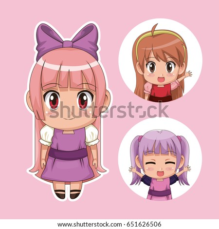 color set cute anime tennagers