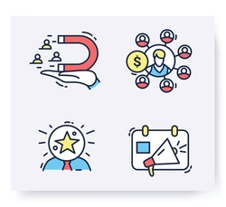 Color set of customer attraction icons. Customer acquisition. Client attraction retention, awareness, advertising. Guide steps to acquire buyers. Isolated linear vector business illustrations