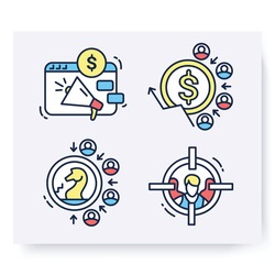 Color set of customer attraction icons. Customer acquisition. Client attraction strategy, cost, target. Guide steps to acquire buyers. Isolated linear vector business illustrations