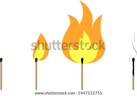 Color set of different matches. Contains new match, burning match, burnt down match with smoke.