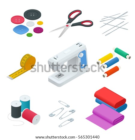 Color set of objects for sewing, handicraft.