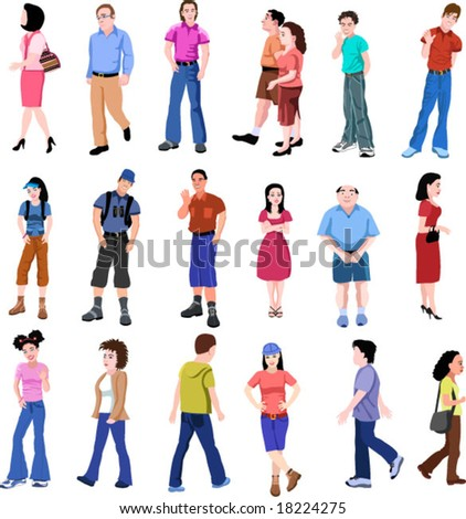 color set of vector people