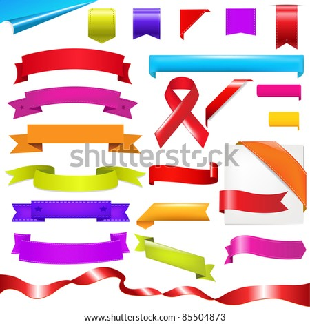 Color Set, Ribbons Set, Isolated On White Background, Vector Illustration