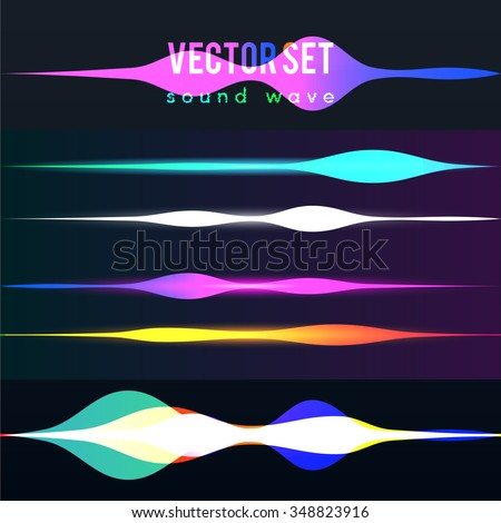 Color set sound waves lights effect. Music round background of a form of a wave.