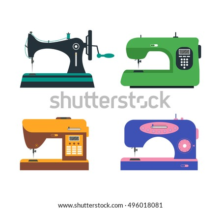 Color Sewing Machine Set. Flat Design Style. Vector illustration of Four Machines of Sewing. Green, Violet, Orange and Black. Retro and Modern Machines for Sewing. Equipment of a Dressmaker Foto d'archivio ©