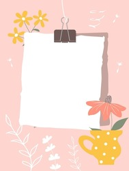 Color sheets of paper connected with a paperclip hang on a thread. Note paper, pink flower in  yellow mug, white contours of plants in the background. Vector illustration, flat style.