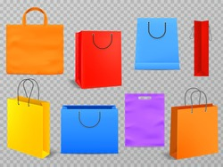 Color shopping bags. Empty products handbag white paper fashion bag with handle 3d isolated grocery shop realistic package vector mockup set