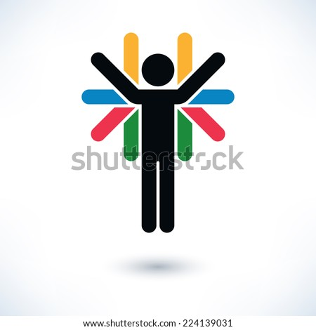 Color sign people (man's figure) with many hands in flat style. Simple silhouette with gray shadow isolated on white background. Graphic design elements in vector illustration 8 eps