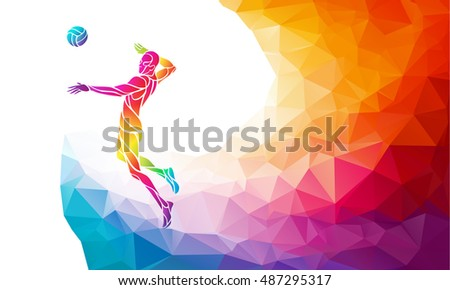color silhouette of volleyball