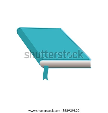color silhouette with book with cover and blue ribbon