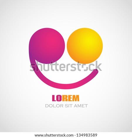 Color smile logo. Creative concept. Corporate icon.