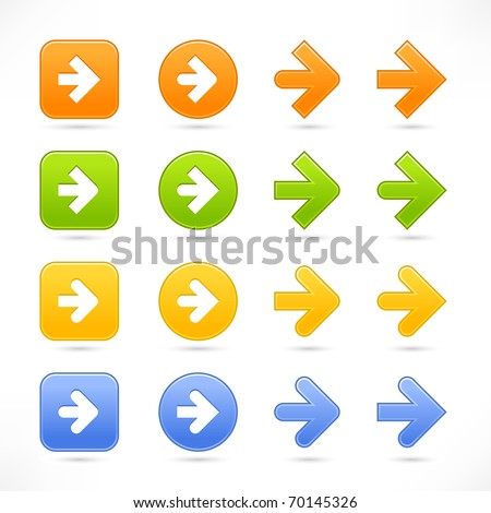 Color smooth arrow icon web 2.0 button with shadow on white background