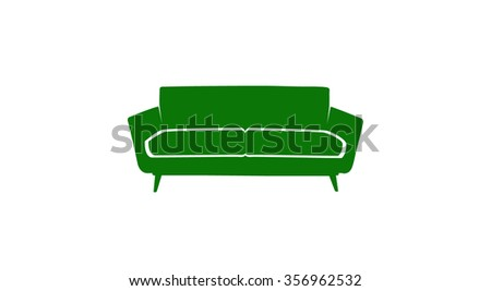 color sofa icon green on white