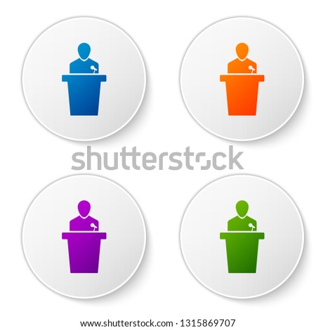 Color Speaker icon isolated on white background. Orator speaking from tribune. Public speech. Person on podium. Set color icon in circle buttons. Vector Illustration