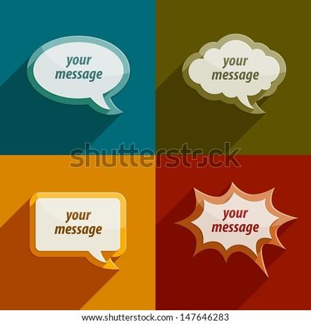 color speech bubble clouds kit for messages - eps10 vector illustration