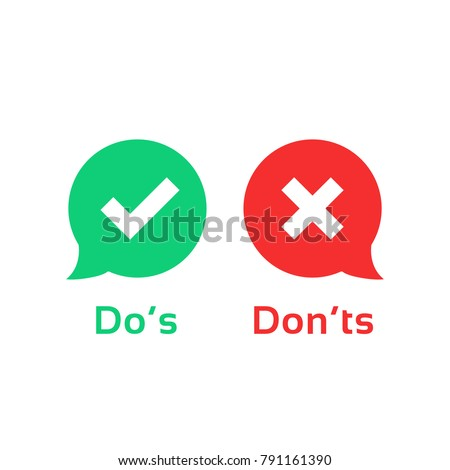 color speech bubble like dos and donts. flat simple trend modern logotype graphic design illustration isolated on white. concept of checklist element and reject or accept symbol for evaluation quiz