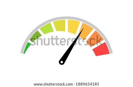 Color speedometer. Speed meter. Heating, temperature scale icon. Vector illustration Сток-фото ©