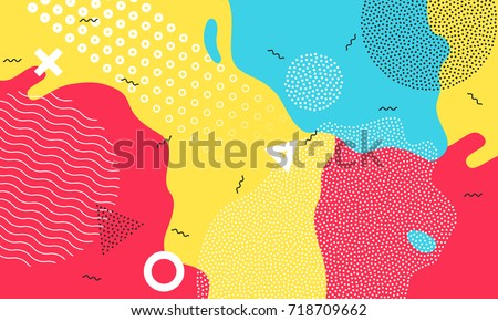 Color splash abstract cartoon background or children playground banner design element. Vector overlay colorful spotty pattern of geometric shape, line and dot in trendy Memphis animation 80s-90s style