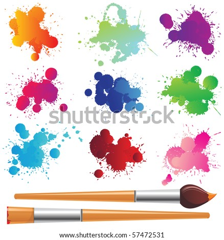color splashes and paintbrushes