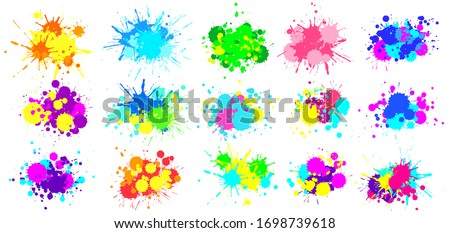 Color splatter. Colorful paint splash, bright painted drip drops and abstract colors splashes vector graphic set. Illustration drop splatter paint, stain splash dirty, colorful splat