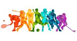 Color sport background. Football, basketball, hockey, box,  baseball, tennis. Vector illustration colorful silhouettes athletes