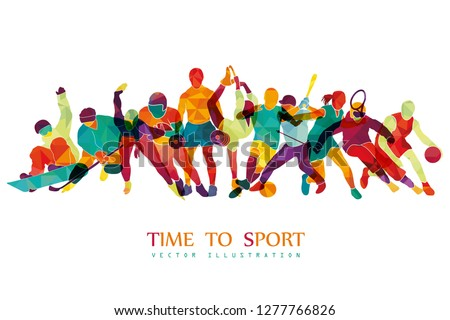 Color sport background. Football, basketball, hockey, box, golf, tennis, fitness, snowboard. Vector illustration