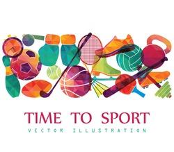Color sport background. Football, basketball, hockey, box, golf, tennis. Vector illustration