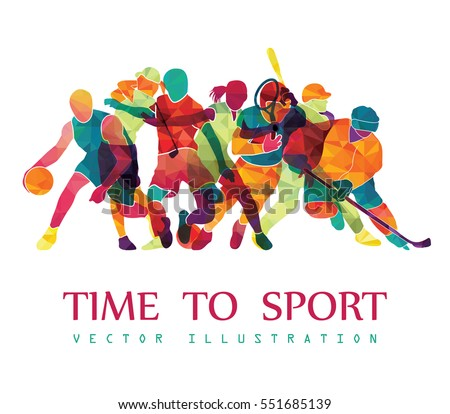 Color sport background. Football, basketball, hockey, box, golf, tennis. Vector illustration #551685139