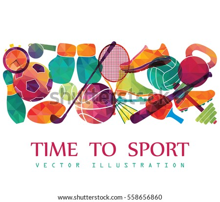 Color sport background. Football, basketball, hockey, box, golf, tennis. Vector illustration #558656860