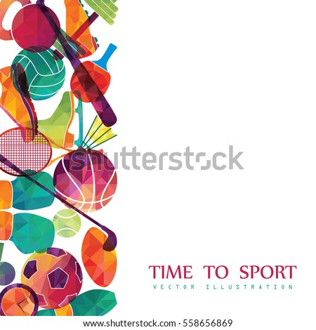 Color sport background. Football, basketball, hockey, box, golf, tennis. Vector illustration #558656869