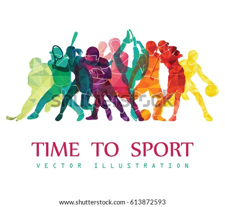 Color sport background. Football, basketball, hockey, box, golf, tennis. Vector illustration #613872593