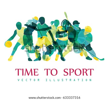 Color sport background. Football, basketball, hockey, box, golf, tennis. Vector illustration #633337316