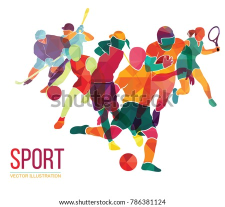 Color sport background. Football, basketball, hockey, soccer, golf, tennis. Vector illustration