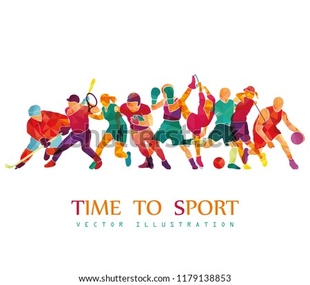 Color sport background. Football, soccer, basketball, hockey, box, golf, tennis. Vector illustration