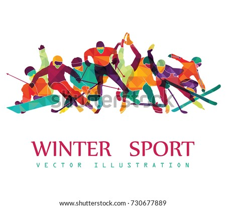 Color sport background. Hockey, biathlon, snowboarding, skating, ice skiing, Figure, freestyle. Vector illustration