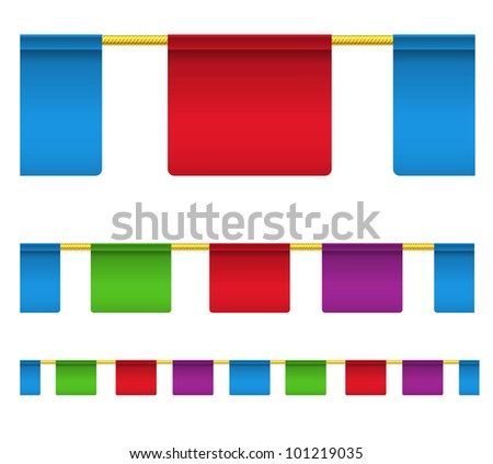 Color square celebration flags isolated on white