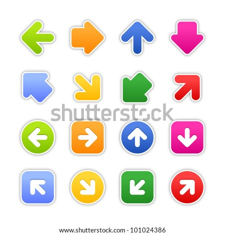 Color stickers arrow sign. Satined shapes with gray drop shadow on white background. This vector illustration design element saved in EPS 10