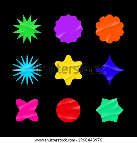 Color stickers mockup. Blank labels of different shapes, circle wrinkled paper emblems. Copy space. Stickers or patches for preview tags, labels. Vector illustration