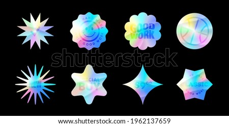Color stickers mockup. Blank labels of different shapes, circle wrinkled paper emblems. Stickers or patches for preview tags, labels. Vector illustration